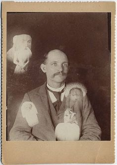 Spirit Photograph of Man with Multiple Extras, via Flickr.