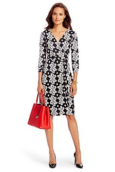 Like wrap dress style and black and white print.  Unsure how it would look on me.  May be too busy. New Julian Two Silk Jersey Wrap Dress.