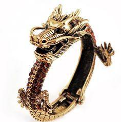 Diamond and gemstone dragon bangle