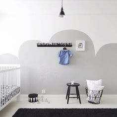 In the clouds, gorgeous nursery inspiration for a boy, via features Boys Rules and black wire basket all available in our store Baby Bedroom, Baby Room Decor, Kids Bedroom, Do It Yourself Design, Kids Room Design, Baby Kind, Fashion Room, Kid Spaces, New Wall