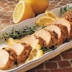 """Lemon-Rosemary Pork Tenderloin Recipe- Recipes  """"This moist tender pork is seasoned with a wonderful herb and lemon rub I created,"""" says Carol Birkemeier of Nashville, Indiana. """"Even my husband, who is a chef, thinks this dish is special enough for company."""""""