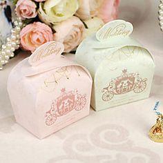 12 Piece/Set Favor Holder - Cuboid Card Paper/Pearl Paper Favor Boxes Carriage Pattern