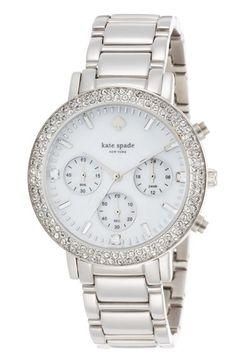 kate spade new york 'gramercy grand' crystal bezel multifunction bracelet watch, 38mm available at #Nordstrom