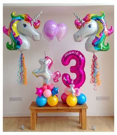 could have a three and a seven on opposite sides I believe I have a purple three already Unicorn Themed Birthday Party, Unicorn Birthday Parties, Birthday Balloons, Birthday Party Themes, Balloon Centerpieces, Balloon Decorations, Girl Birthday Decorations, Unicorn Balloon, Fiesta Ideas