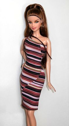 """This is the Barbie from the Landmarks of the World/""""Big Ben"""" doll...I think she looks really pretty redressed! (^__^) Wearing a My Scene dress."""