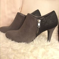 Gorgeous booties, nearly NEW! Two-toned, with side zipper. Black has sparkle to it, grey is faux suede. 3 inch heels. Pictures don't do justice to these fabulous booties! Shoes Ankle Boots & Booties