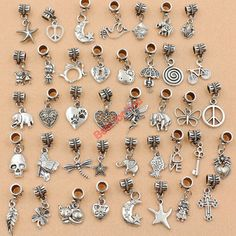 Mixed Tibetan Silver Plated Heart Butterfly Chams Beads for European Charms Bracelet Jewelry Making Accessories Handmade Diy