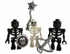 LEGO Skeleton Set- 2 black skeletons, 1 white minifigures with weapons by LEGO. $19.48. Castle or Kingdom Skeletons (white and black). Complete with weapons, shield, flail and crossbow. Three skeletons to lay siege to the castle, two black and one white, complete with weapons.