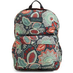 Vera Bradley Lighten Up Just Right Backpack in Nomadic Floral ($88) ❤ liked on Polyvore featuring bags, backpacks, nomadic floral, water resistant backpack, light weight backpack, rucksack bag, vera bradley bags and water resistant bag