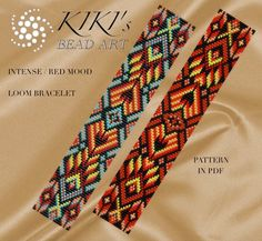 Bead loom pattern Intense mood LOOM bracelet PDF by KikisBeadArts Loom Bracelet Patterns, Bead Loom Bracelets, Bead Loom Patterns, Jewelry Patterns, Beading Patterns, Beading Projects, Beading Tutorials, Loom Beading, Bead Weaving