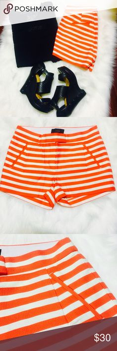 J Crew Orange and white Striped Shorts J Crew - striped shorts - size 4 - worn once - Orange and ivory white stripes - like new condition - wedges shown with shorts can be purchased in my closet - reasonable offers welcomed and bundle discount available J. Crew Shorts