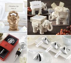 """Planning an Asian Wedding? Aren't You Fortunate! Whether you're having a traditional ceremony or not, these meaningful favors represent how fortunate you truly are and share some good fortune with your guests.  Lucky symbols expressed in elegant favors include elephants, golden Buddha, bottle stoppers with the """"Double Happiness"""" design and fortune cookies. http://bride2be.theaspenshops.com/category/Asian.html"""