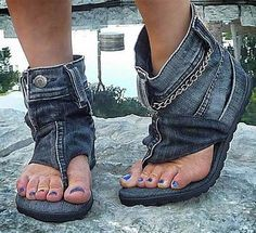 Cool Recycled Denim Sandal Boots, wow I have seen it all to the meaning of recycle