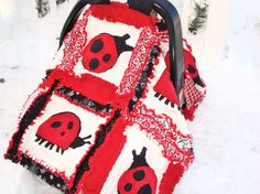 Car seat canopy rag quilt baby blanket sewing pattern with appliqued lady bugs. This pattern is easy to understand and lots of fun to sew. Rag Quilt Patterns, Beginner Quilt Patterns, Baby Patterns, Sewing Patterns, Quilting Ideas, Sewing Projects For Kids, Sewing For Kids, Baby Sewing, Sewing Ideas