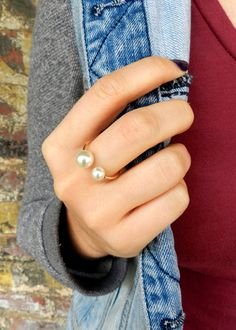 Buy Adjustable Double Pearl Ring (White) * Will ship within business days (from US) * Great gift ideas - mother's day, birthday, Christmas, Thanksgiving, an Dainty Jewelry, Cute Jewelry, Pearl Jewelry, Simple Jewelry, Gold Pearl Ring, Gold Rings, Bijoux Design, Nail Ring, Linen Spray