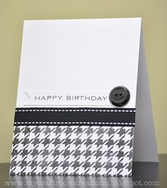 My Craftroom Creations: fabulous CAS masculine card with ribbon and button