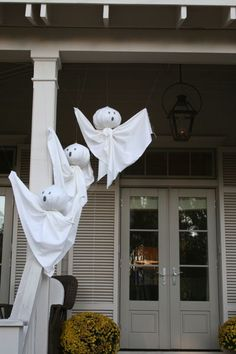 Sheet ghosts on the porch.