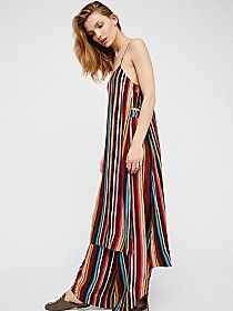 Beachwood Maxi Dress | Maxi dress featuring a cotton bodice with a distressed beachy graphic and a sheer mixed print body with a flowy shape and an asymmetrical hem.