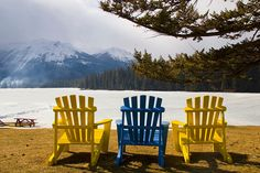 The Fairmont Jasper Park Lodge is found in Jasper National Park within the Canadian Rockies. (I love the contrast of the Muskoka chairs with the snow!)
