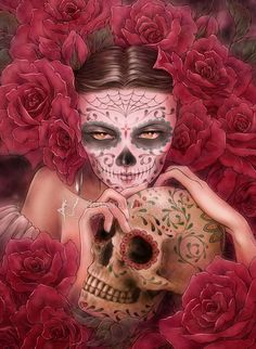 Items similar to Open Edition ACEO Print - Day of the Dead Catrina with Sugar Skull - Las Calaveras - Red Roses - Fantasy Art by Mitzi Sato-Wiuff on Etsy Crane, Dark Fantasy, Fantasy Art, Fantasy Gifts, Catrina Tattoo, Sugar Skull Art, Sugar Skulls, Day Of The Dead Skull, Skull Makeup