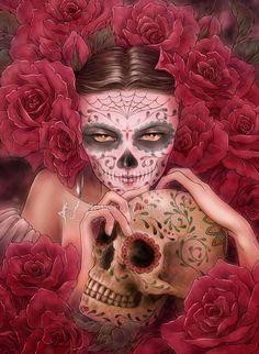 Open Edition ACEO Print - Day of the Dead Catrina with Sugar Skull - Las Calaveras - Red Roses - Fantasy Art by Mitzi Sato-Wiuff