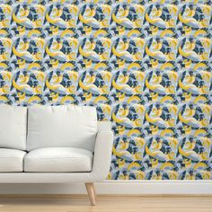 Commercial Grade Wallpaper Swatch - Yellow Fruit Animals Dog Breeds Tropical Dachshund Traditional Wallpaper by Spoonflower