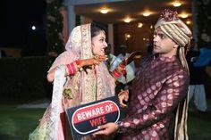 Anu weds Manu - a pretty day wedding in delhi   bride and groom super fun wedding shoot   beware of the wife props   fun couple