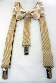 ON SALEBeigeLil Boy Suspenders and Bow Tie Set  by JHPCouture, $24.50
