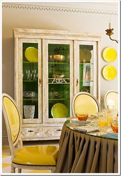 I love the green inside of the china cabinet