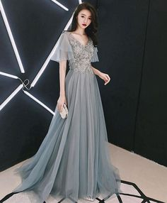 Gray v neck Cap sleeve tulle lace long prom dress, evening d.- Gray v neck Cap sleeve tulle lace long prom dress, evening dress Gray v neck Cap sleeve tulle lace long prom dress, evening dress - Trendy Dresses, Sexy Dresses, Beautiful Dresses, Fashion Dresses, Formal Dresses, Blue Dresses, Blue Evening Dresses, Evening Gowns, Prom Dresses With Sleeves