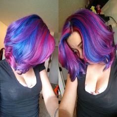#purplehair #bluehair #pinkhair #hotpinkhair #rainbowhair #mermaidhair #colorfulhair #haircolor #ManicPanic  Blue hair | Purple hair | Pink hair | Hot Pink hair | Rainbow hair | Mermaid hair | Colorful hair | Hair color | Manic Panic   Instagram: __thecatsmeow_
