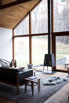natural // interior design, living room, fire place, modern, minimalist, cabin, midcentury, grey, black, wood