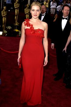Kate Winslet Tons of stars have worn red gowns to the Oscars, but few have looked as incredible as Winslet did in her Ben de Lisi column in 2002.
