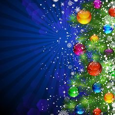 Free vector illustration of Beautiful Tree fir with balls star flake pattern Merry Christmas Celebration wallpaper background