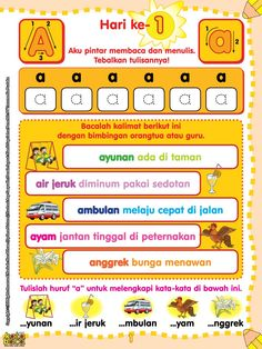 Baca Online Buku 60 Langkah 60 Hari Aku Pintar Membaca dan Menulis untuk anak usia TK dan PAUD tentang metode pembelajaran praktis dan mudah selama 60 hari. Kindergarten Assessment, Kindergarten Reading Activities, Preschool Writing, Phonics Reading, Preschool Learning Activities, Kids Reading, Fun Learning, Writing Practice Worksheets, Kids Math Worksheets