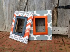 Picture Frame Fabric Covered  Set of 2 Wood by TheRedWoodBarn