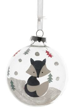 Christmas bauble with a cute, grey and white fox sitting in the snow. Available for £3 from our shop: http://www.liverpoolmuseums.org.uk/onlineshop/seasonal-christmas/christmas-decorations/forest-fox-bauble.aspx