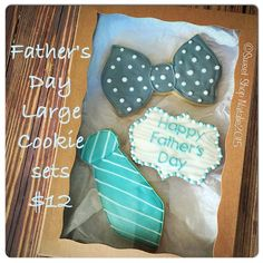 Father's Day is sneaking up on me. Get dad a tie he will truly enjoy. Nom Nom! (Colors may vary)  Orders due and paid for by Sunday June 14th. Pickup is Friday June 19th.  Comment how many you want and I'll invoice you through square.com #royalicing #fathersday #tie #father #customsugarcookies #decoratedsugarcookies #sweetshopnatalie