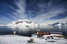 Argentinean Brown Station in Antarctica, with Paradise Bay.