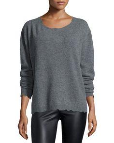 Charlotte Long-Sleeve Cashmere Sweater, Heather Gray, Heather Grey - RtA