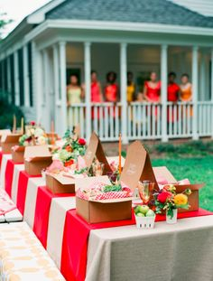 summer picnic table and boxed lunches...love the idea!!