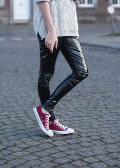 ef0fd22c11ea45 PVC leggings  ASOS - roll neck knit sweater  New Look - sneakers  Converse  I told you I was crushing hard on these PVC AS.