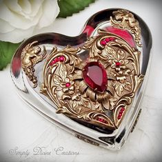 Heart Paperweight, Swarovski Crystal Embellished Heart Glass Paperweight, Desk, Office, Home Décor, Paperweight, Jewelry For Your Desk, via Etsy