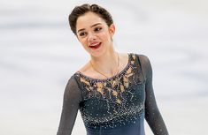 Russia's Evgenia Medvedeva finishes her Free Skate at the 2017 World Figure Skating Championships.