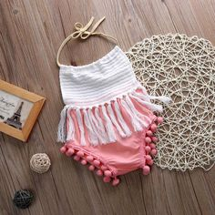 Riley Tassel Pink and white Romper