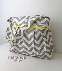 Christmas Gift Ideas - Stella XL DELUXE Chevron Diaper bag  Grey Chevron by marandalee, $118.00