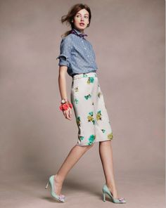 J.Crew February 2013. chambray dots and carnation skirt