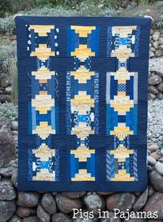 Blue and Gold Courthouse Steps quilt for Grace Circle Circle Quilts, Longarm Quilting, Baby Quilts, Stuff To Do, Things To Think About, Shapes, Modern, Blue, Trendy Tree