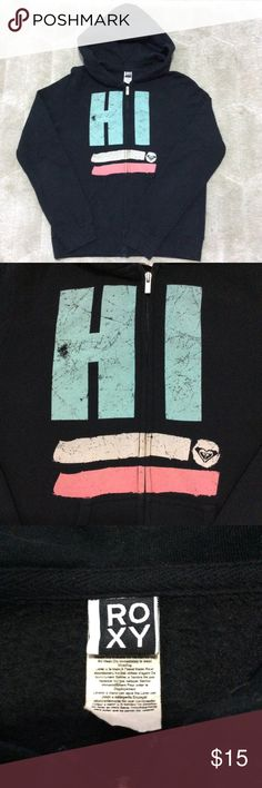 "ROXY Oversized Graphic Hoodie Soft black oversized hoodie with cute graphic. P-P 21"" S-H 23"" Sleeve 25"" Roxy Tops Sweatshirts & Hoodies"