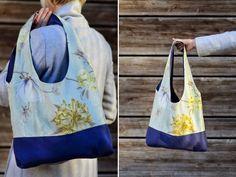 fräulein ver.wunder.bar: Ich bin wieder da: Mit einer fULM(A)inanten Tasche ;-) Stofftasche, Stoffbeutel, Tasche, bag, tote, marketbag, nähen, sew, Geschenk, gift, present, Plastik vermeiden, no plastik, Stoff, fabric, cloth, Baumwolle, blau, Blumen, blue, flower